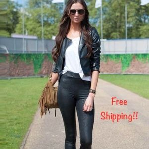 Blanc Noir Black Faux Leather Moto Jacket Large